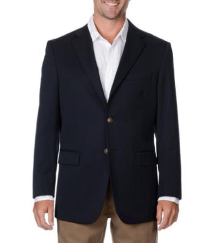 Mens Wool Big & Tall Long Gabardine Blazer Navy