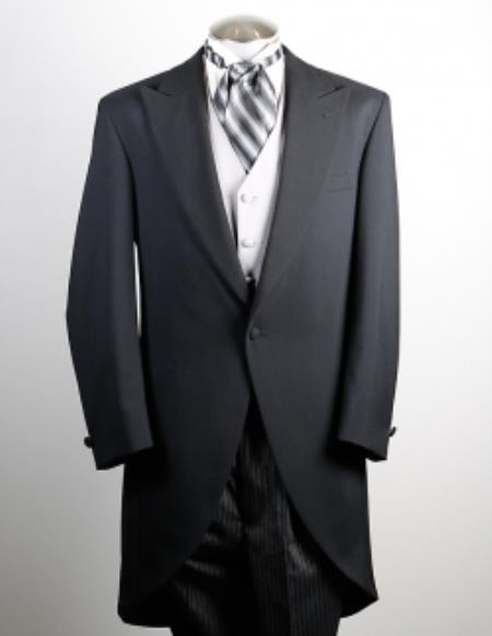 SKU#TK4281 Mens 100% Worsted Wool Black Cutaway
