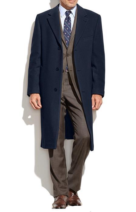Designer Brand Mens Dress Coat Topcoat Wool Cashmere Blend Overcoat Navy