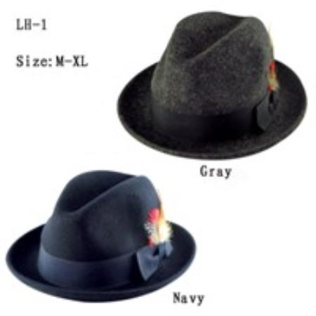 SKU#GT3729 Mens 100% Wool Hat Available in Grey, Navy Colors
