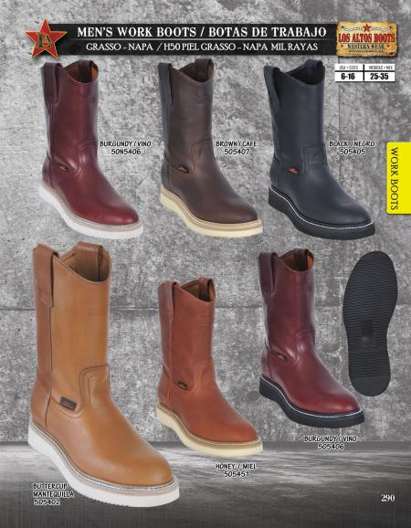SKU#TG90 Los Altos Mens Leather Work Boots Vibran Sole Diff. Colors/Sizes