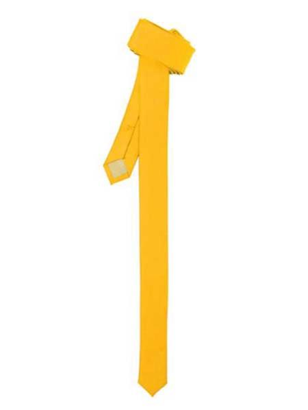 Polyester Super Skinny Fashionable Shiny Slim Fully Lined Yellow NeckTie