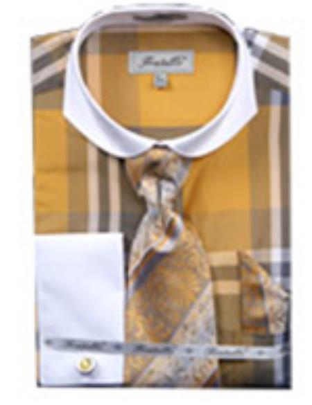 SKU#PN-2 Mens Checker Pattern French Cuff Shirt White Collar Two Toned Contrast  With Cuff Links Yellow