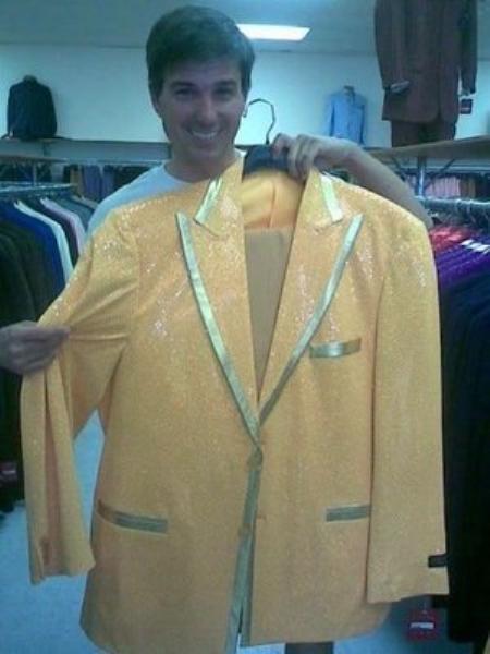 SKU#GM8292 Mens Yellow-Gold Shiny Flashy Metallic Tuxedo Suit Peak Lapel