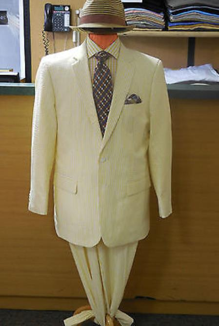 Alberto Nardoni Brand Yellow ~ Gold seersucker ~ sear sucker Suits 2 button suit Flat Front Pants Regular Fit Blazer & Pants