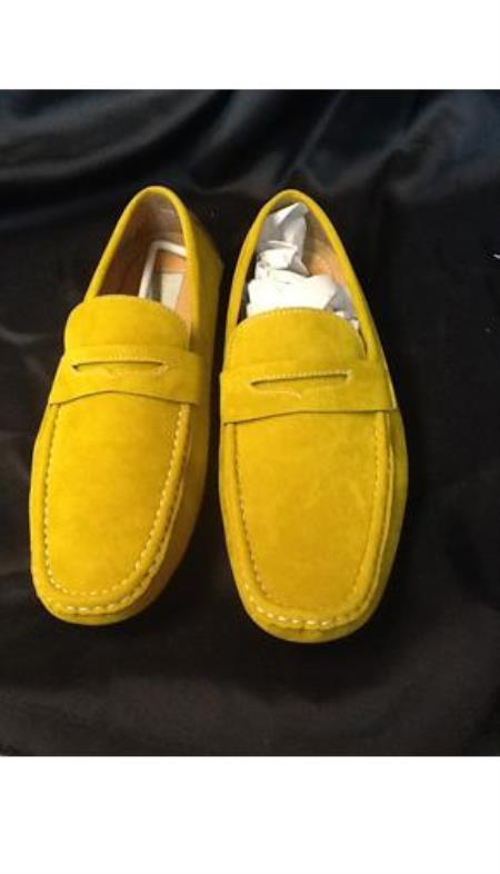 Buy DB100 Mens Yellow ~ Gold Stage Party Classic Oxford loafer slip Mens shoe Slip Shoes
