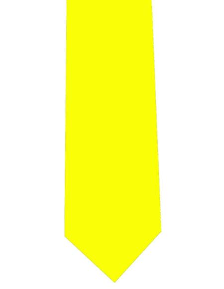 Mens Extra Long Polyester Yellow Solid Neck Tie