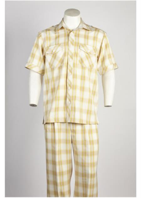 Mens Short Sleeve 2 piece Casual Two Piece Walking Outfit For Sale Pant Sets Suit Yellow