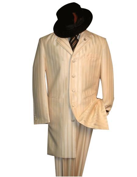Shiny Ivory~OFF White~Cream tone on tone Shadow Stripe ~ Pinstripe Men's Fashion Zoot Suits For Men