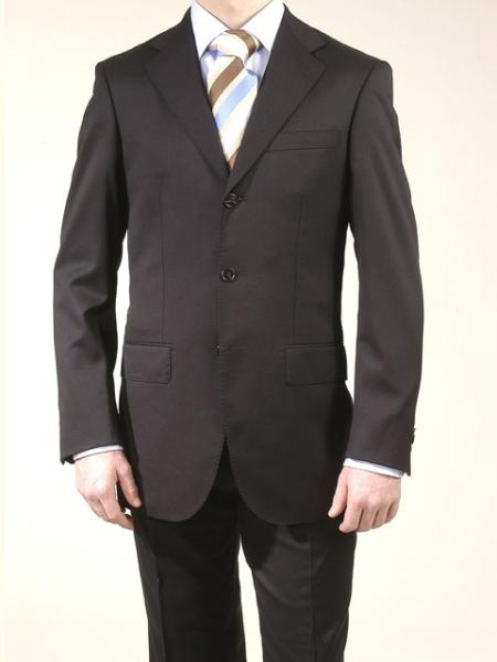 SKU# V2FK Mens premier quality italian fabric 3 Buttons Double Vent Liquid Black Super 120 Wool $155