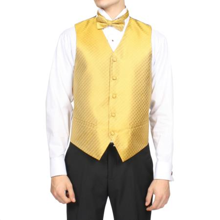 Mens Gold Diamond Print 4-Piece Vest Set Also available in Big and Tall Sizes