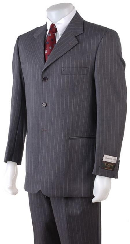 SKU#ZPA63 Mens 2/3/4 Button Style Charcoal Gray Pinstripe Light Weight On Sale $119