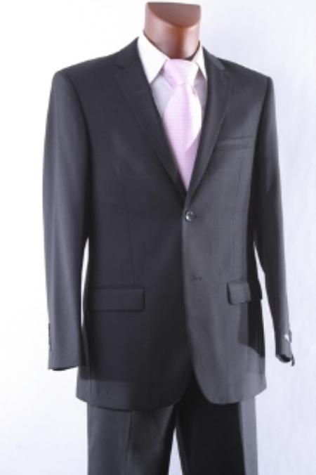 SKU#VB9099 Mens Cheap Discounted 2 Button Slim Fit Dress Suit + Flat Front Pants Black + Matching White & Tie $99