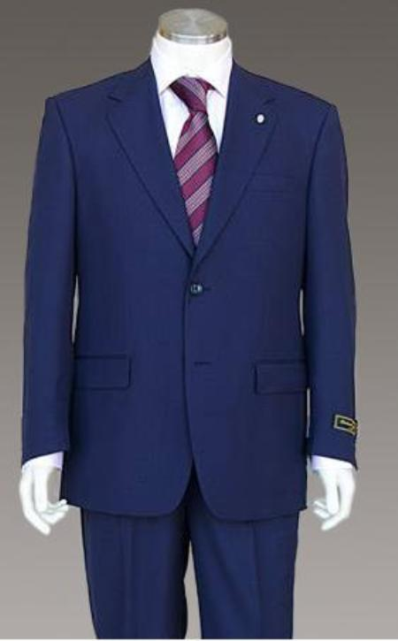 SKU#DCN348 Mens 2 Button Rare Color Light than Navy Blue (not dark) Teal Wool Suit With Flat Front Pants $165