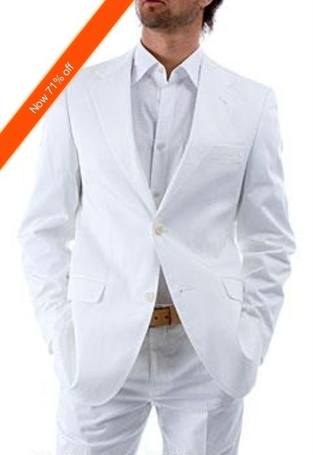 SKU#VG9922 Mens 2-Button White Suit + White Shirt