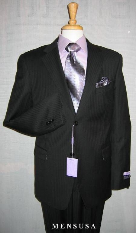 SKU#Genive Mens 2 Button Black Ton on Ton Shadow Stripe ~ Pinstripe $159
