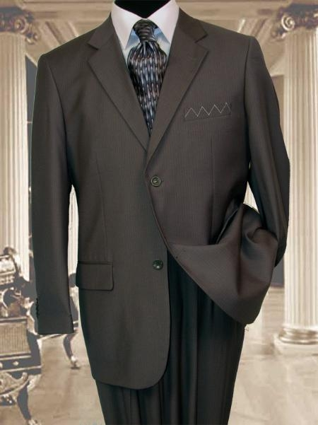 SKU#SK113 Mens 2 Button Extra Long Charcoal Grey Mens Suit With a Smooth Pinstripe