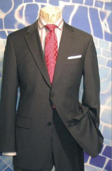 SKU# YNS905 Mens 2 Button Charcoal Gray Super 150s Wool Dress Suit $175