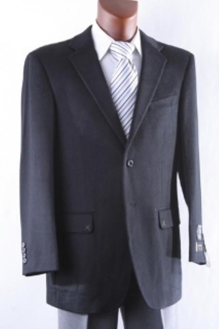 SKU#2SP-J40912C Men's 2 Button Lamb Wool Cashmere Sport Coat Black