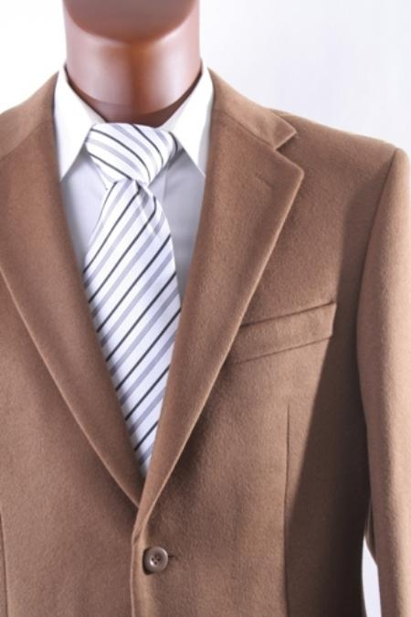 SKU#2BV-J40912C Men's 2 Button Lamb Wool Cashmere Sport Coat Vicuna $139