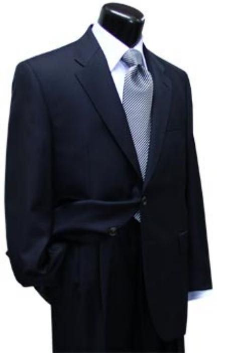 SKU# NVTZ-100 Mens 2 Button Navy Blue Super 100s Wool , single breasted and pleated Suit