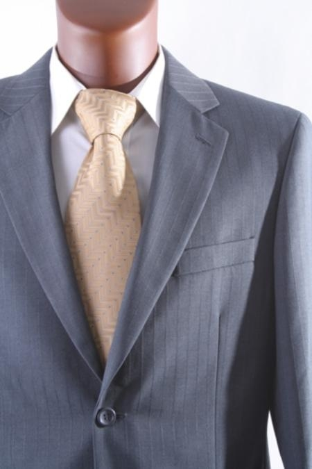 SKU#FH5693 Mens cheap discounted 2 Button Tonal Stripe Dress Suit with Flat Front Pants Gray $99