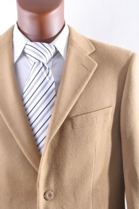 SKU#2BV-J40912C Men's 2 Button Lamb Wool Cashmere Sport Coat Camel ~ Khaki