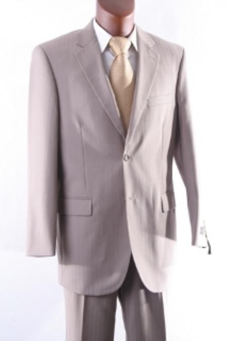 SKU#TL3977 Mens cheap discounted 2 Button Tonal Stripe Dress Suit with Flat Front Pants Tan $99