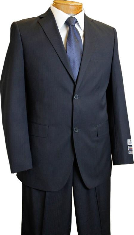 SKU#KX2902 Mens 2 Button Slim Fit Navy Pinstripe affordable suit online sale $139