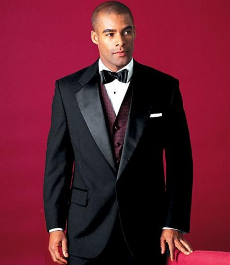 SKU#MUY724GA Mens 2 Buttons Tuxedo 2 Buttons Tuxedo Jacket + Pants Satin Notch Lapel Single Breasted $79