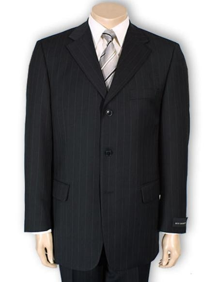 SKU#A63T Men's 2or3or4 Button Style normal Black Pinstripe Light Weight On Sale