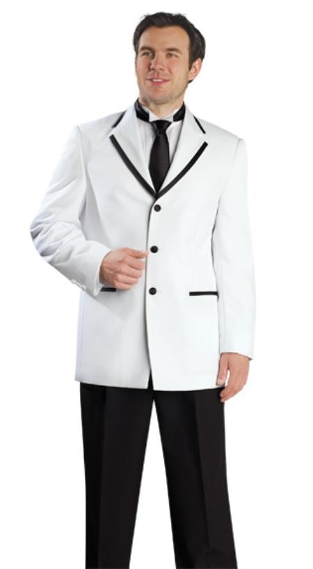 SKU#TX1096 Mens 3 Button White Suit
