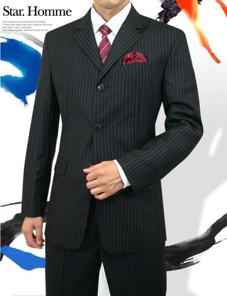 SKU#A63TRS Mens 3 Button Style Jet Black Pinstripe Light Weight On Sale $109