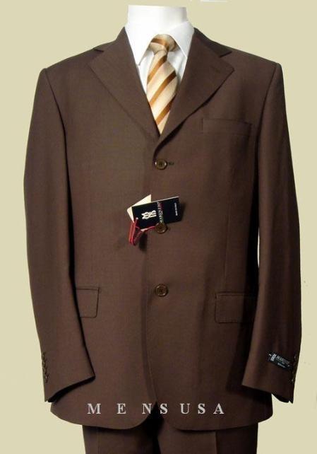 SKU#MUCO72 Mens 3 Buttons Dark Brown Super 140