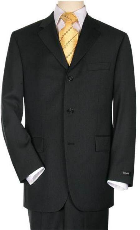 SKU#3BS03 Mens 3 Buttons Mens Suit Jet Black premier quality italian fabric Super 150s Wool