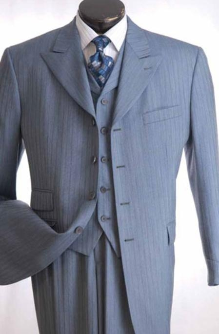 SKU#JK723 Mens 3 Piece Shadow Stripe Suit $139
