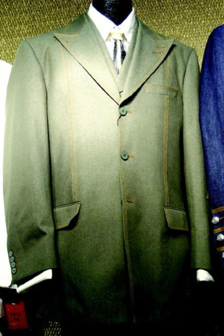 SKU#AB458 Mens 3 Piece Fashion Suits in Olive or Black or Taupe or Brown or Navy or Off White $199