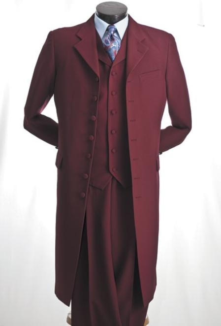 SKU#WJ822 Mens 3 Piece Maxi Suit in Burgundy or Red or White or Black or Off White $109