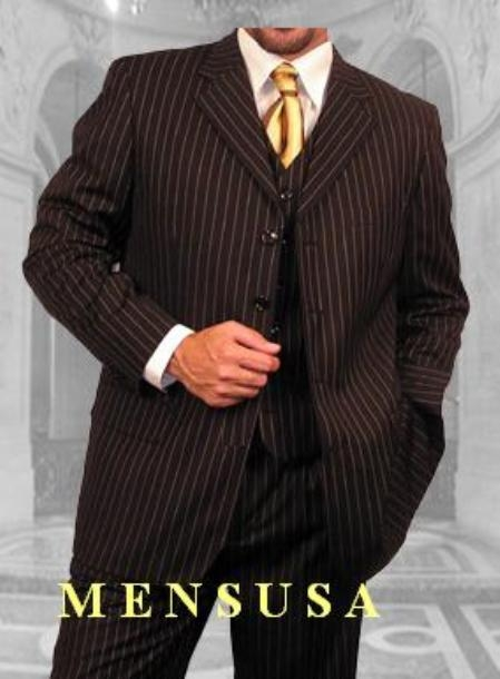 SKU#MF036 Mens 3 Piece Black & Gold Stripe Vested three piece suit Super 120s Wool 3 Button three piece suit $165