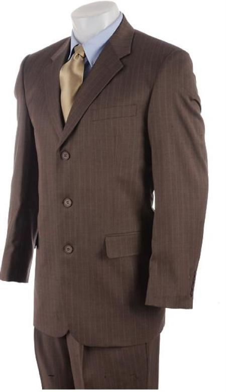 SKU# MU99 Mens 3 Button Mocha Brown Pinstriped Comfort Fit Poly Blend Light Weight Suit On Sale $139