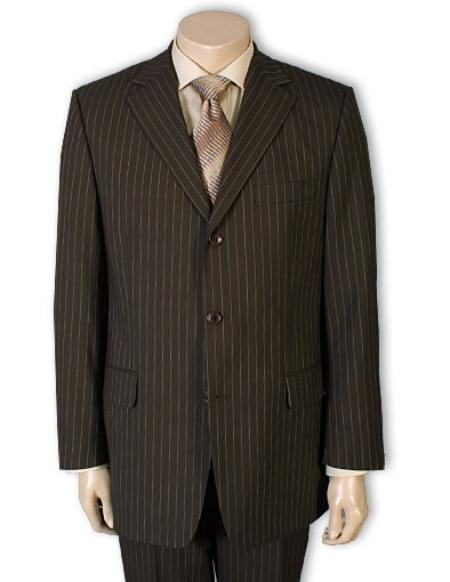 SKU#PWA663 Mens 3 or 4 Button Style Jet Brown Pinstripe Light Weight On Sale