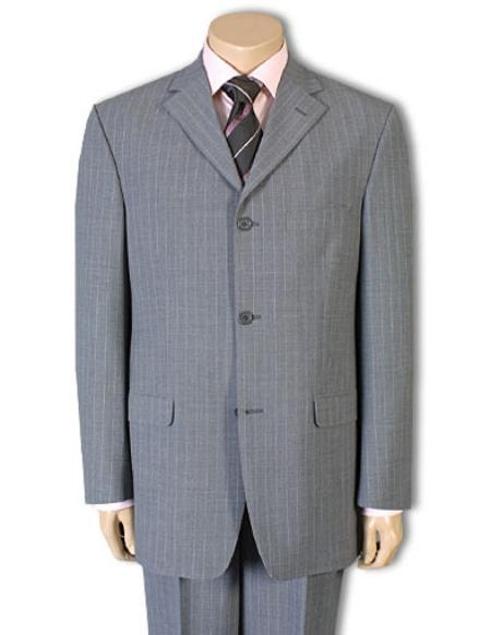 SKU#LIAC3 Mens 3 or 4 Button Style Light Gray Pinstripe Light Weight On Sale $119