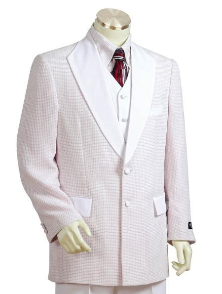 SKU#FR5123 Mens 3 Buttons Suit Snow White $199