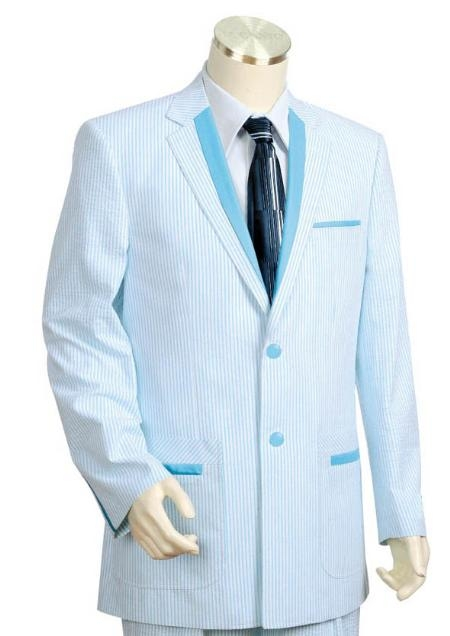 SKU#GY5441 Mens 3 Buttons Suit Style Comes in Turqoise White