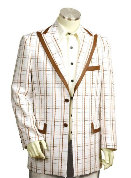 SKU#RF3562 Mens 3 Buttons Suit Style Comes in White Coffee