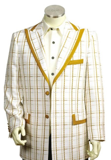 SKU#HG2415 Mens 3 Buttons Suit Style Comes in White Gold Color