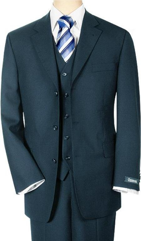SKU# VNB2165 Mens 3 piece Navy Blue Vested 3 Pieace premier quality italian fabric Wool 3 Buttons