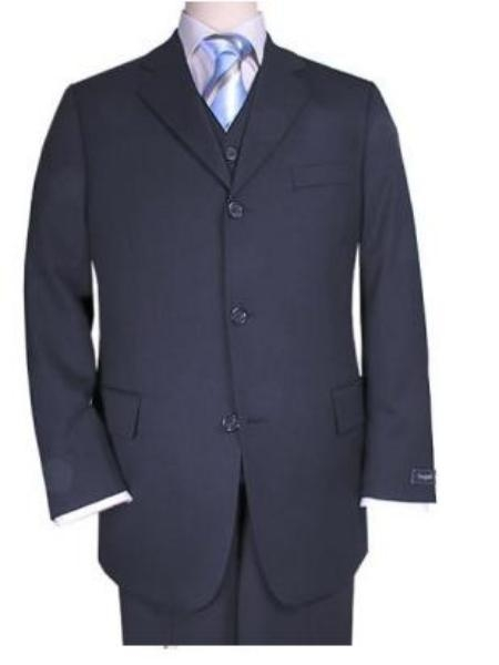 SKU# Z3NV Mens 3 piece premier quality italian fabric fabric Navy Vested Super 120s Mens 3 Piece three piece suit