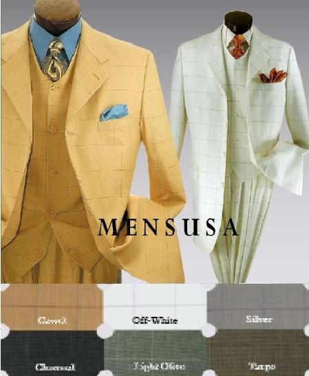 SKU#T644TRP Mens 4 Button 3 Piece Suit with Wide Leg Pants Classic Window Pane Design
