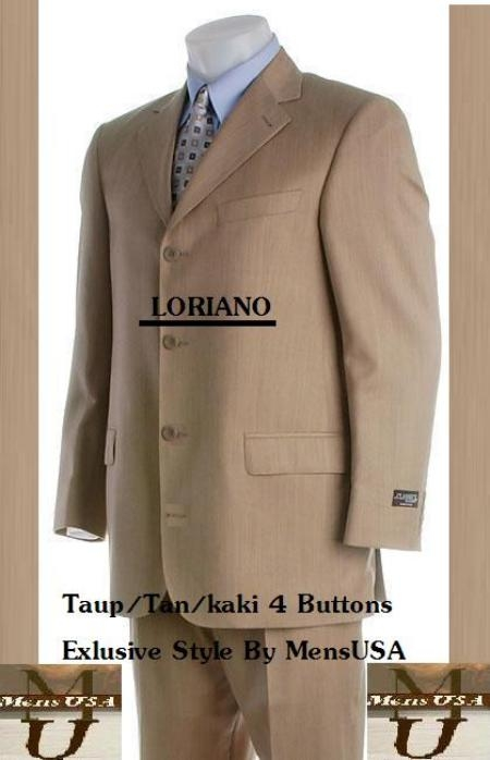 SKU#MUA64 Mens 4 Buttons Taup~Champaign~Sand Suits Pleated Pants $139